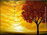 2012 sunset bird tree painting