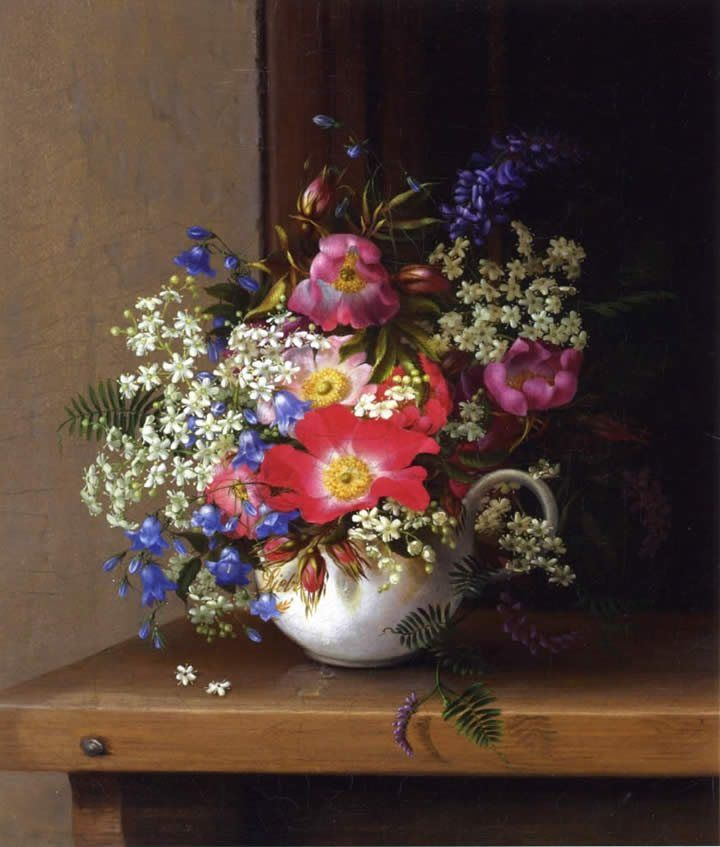 Adelheid Dietrich Still Life with Dog Roses_ Larkspur and Bell Flowers in a White Cup