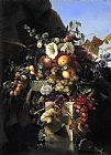 Adelheid Dietrich Still Life with Grapes_ Peaches_ Flowers and a Butterfly painting
