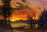 Albert Bierstadt Sunset over the River painting