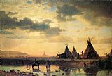 Albert Bierstadt View of Chimney Rock, Ogalillalh Sioux Village in Foreground painting