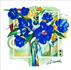 Alfred Gockel Blue Flowers In Vase painting