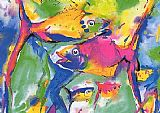 Alfred Gockel Colorful Fish painting