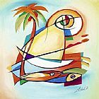 Alfred Gockel Sun Fish I painting