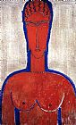Amedeo Modigliani Big Red Bust painting