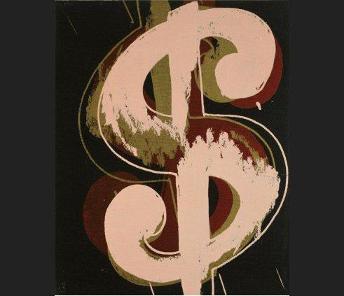Andy Warhol dollar sign beige and red