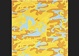 Andy Warhol Camouflage orange yellow blue painting