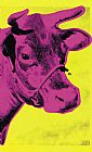 lady in pink Paintings - Cow Pink on Yellow