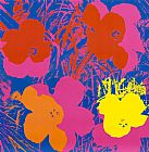 Andy Warhol Flowers, 1970 (Red, Yellow, Orange on Blue painting