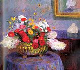Bernhard Gutmann Still Life Round Bowl with Flowers painting