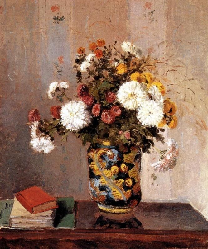 Camille Pissarro Chrysanthemums In A Chinese Vase