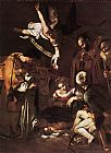 Caravaggio Nativity with St. Francis and St. Lawrence painting