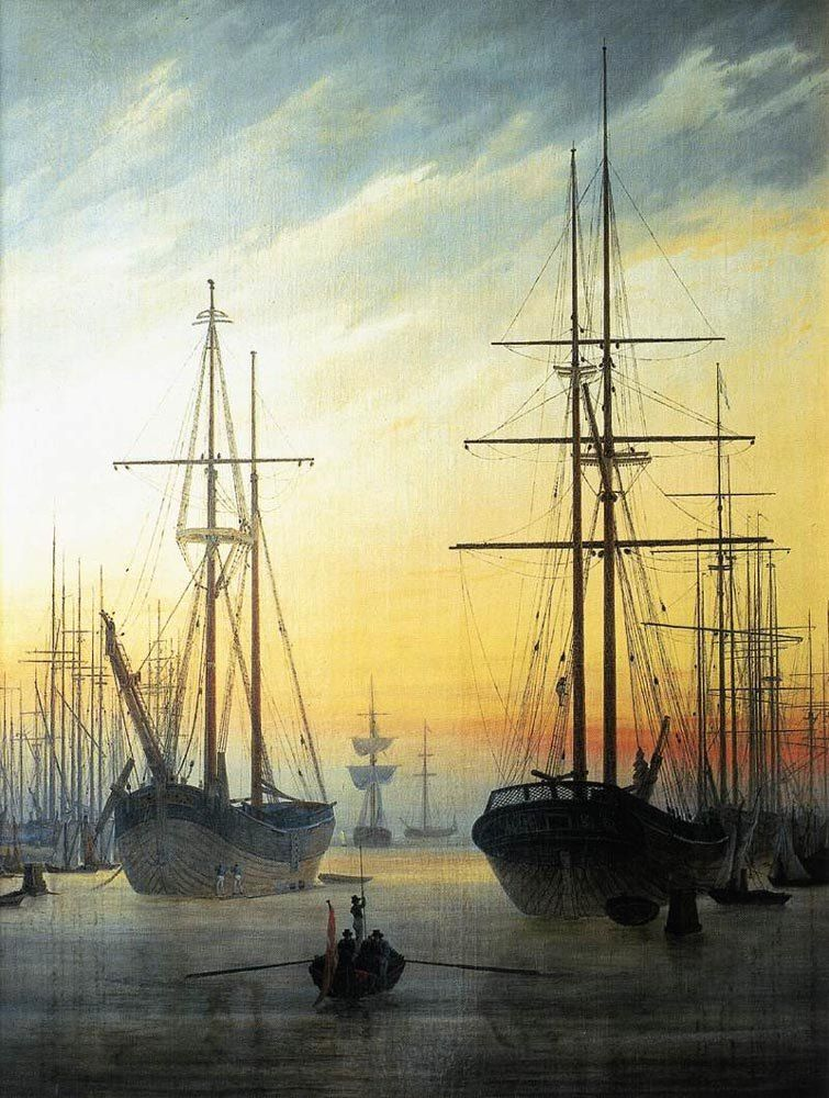 Caspar David Friedrich View of a Harbour