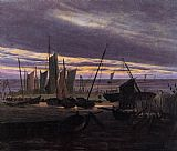 Caspar David Friedrich Boats in the Harbour at Evening painting