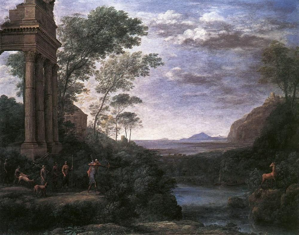 Claude Lorrain Landscape with Ascanius Shooting the Stag of Sylvia