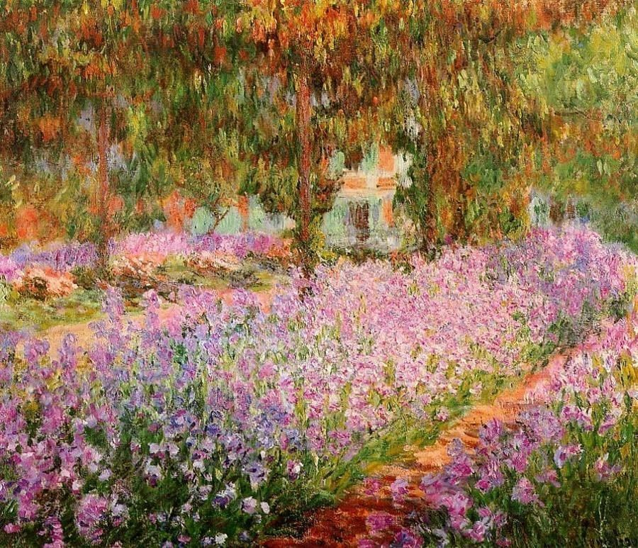 Claude Monet Irises in Monets Garden