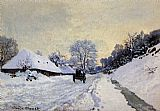 Claude Monet A Cart On The Snow Covered Road With Saint Simeon Farm painting