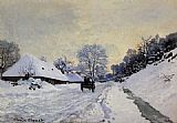 Claude Monet A Cart on the Snow Covered Road with Saint-Simeon Farm painting
