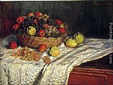Claude Monet Fruit Basket with Apples and Grapes painting