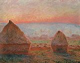 valley of the seine giverny Paintings - Haystacks at Giverny  the evening sun