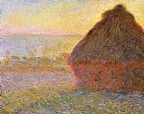 Claude Monet Haystacks, sunset painting