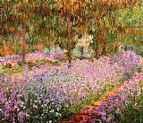 Garden paintings - Irises in Monets Garden by Claude Monet