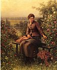 Daniel Ridgway Knight Seated Girl with Flowers painting