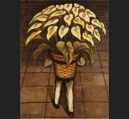 Diego Rivera Man Carrying Calla Lilies
