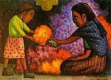 Diego Rivera Mother's Helper painting
