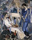 Diego Rivera Portrait of Two Women painting