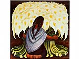 Diego Rivera The Flower Seller painting