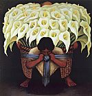 Diego Rivera flower carrier painting