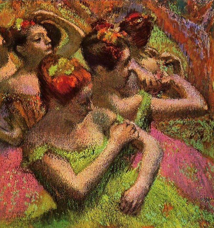 Edgar Degas Ballerinas Adjusting Their Dresses