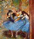 Dancer paintings - Dancers in Blue by Edgar Degas