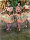 Edgar Degas Dancers wearing salmon coloured skirts painting