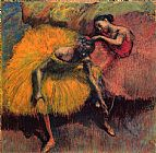 dancer in red Paintings - Two Dancers in Yellow and Pink