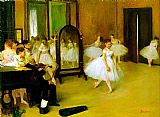 Dancer paintings - dance class by Edgar Degas