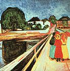 Edvard Munch Girls on a Bridge painting