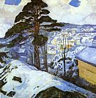Edvard Munch Winter Kragero painting
