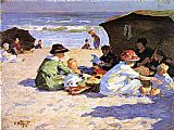 Edward Henry Potthast A Day at the Seashore painting