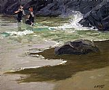 Edward Henry Potthast Bathers by a Rocky Coast painting