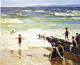 Edward Henry Potthast Bathers by the Shore painting