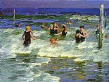 Edward Henry Potthast Bathers in the Surf painting