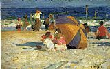 Edward Henry Potthast Beach Umbrella painting