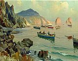 Edward Henry Potthast Boats in a Rocky Cove painting