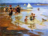 Edward Henry Potthast Children at Play on the Beach painting