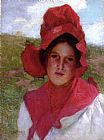 Edward Henry Potthast Girl in a Red Bonnet painting