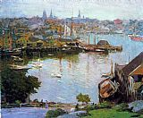 Edward Henry Potthast Harbor Village painting