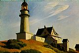 Edward Hopper The Lighthouse at Two Lights painting