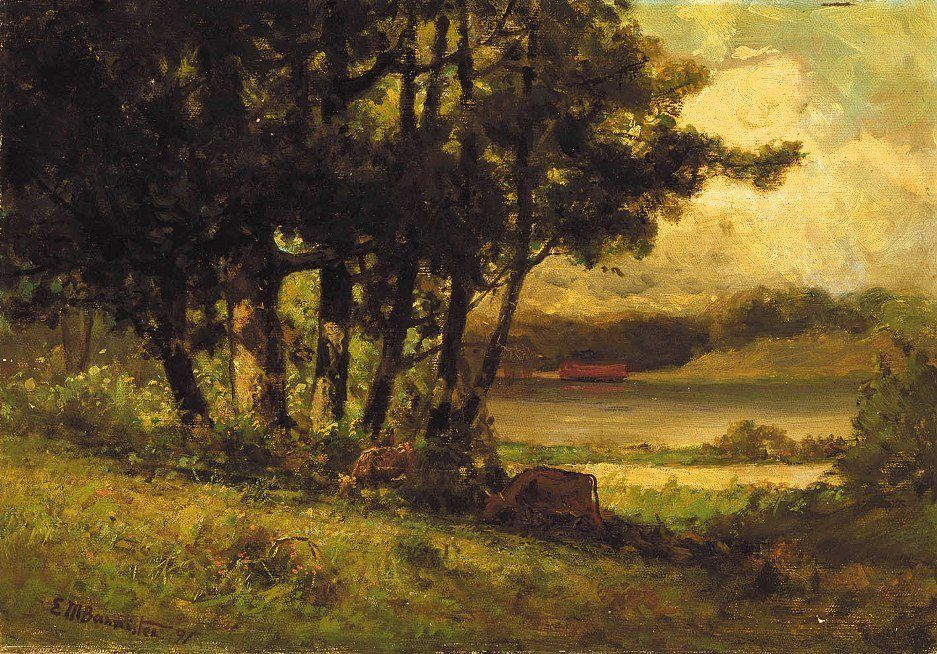 Edward Mitchell Bannister landscape with cows grazing near river